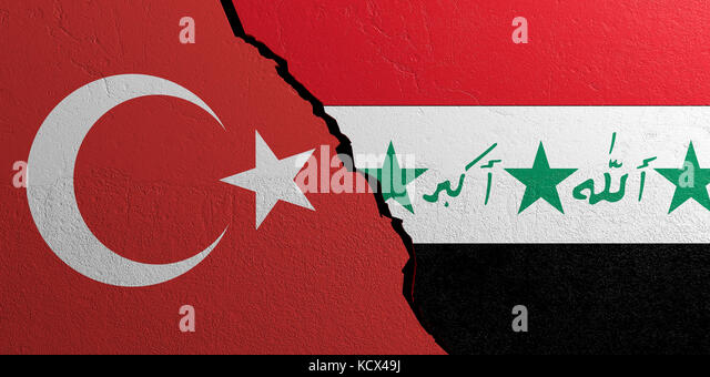 Iraq and Turkey relationship. Flags on plastered wall background. 3d illustration - Stock Image