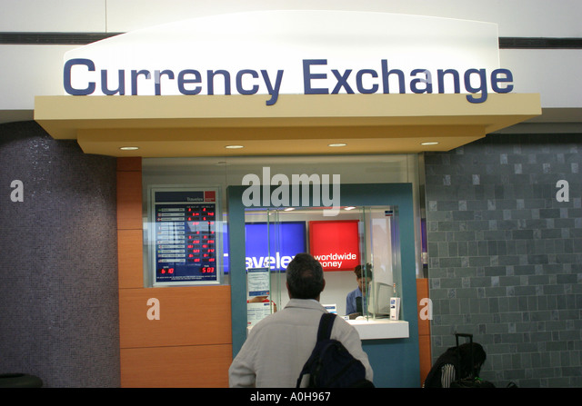 New Jersey Newark Liberty Airport currency exchange - Stock Image
