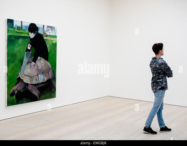 Saatchi Gallery London. Painting of a woman sawing a live giant tortoise in half. - Stock Image
