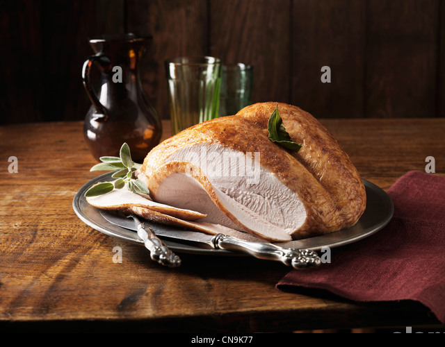 Plate of sliced turkey - Stock-Bilder