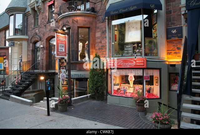 Canada, Quebec, Montreal, Crescent Street, shops, - Stock Image
