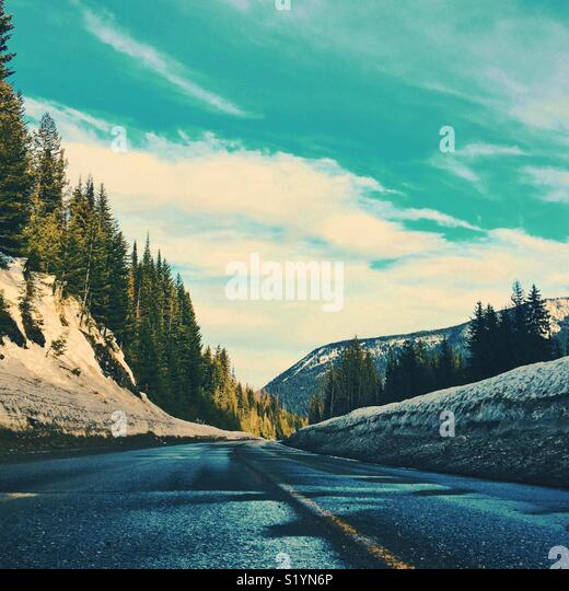 Empty highway on a sunny winter day. Square crop. Space for copy. - Stock Image