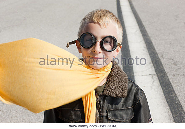 Boy in pilot costume - Stock Image