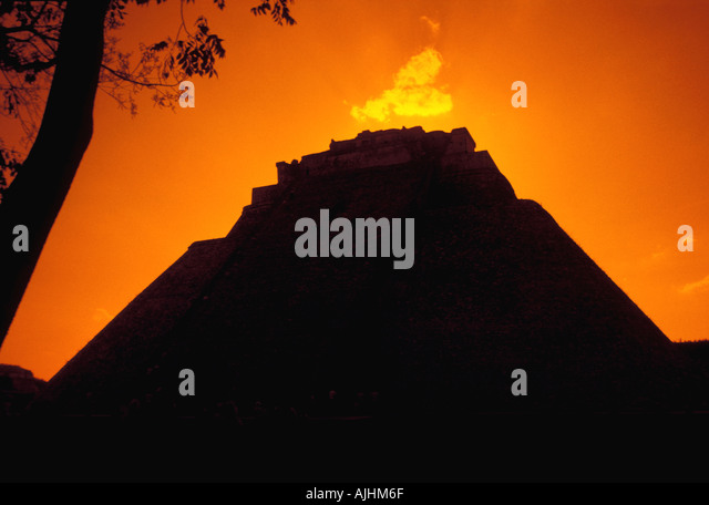 Belize Central America Altun Ha Maya Ruins Temple silhouette - Stock Image