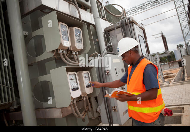 Electrical Engineer Equipment : Steel plant africa stock photos