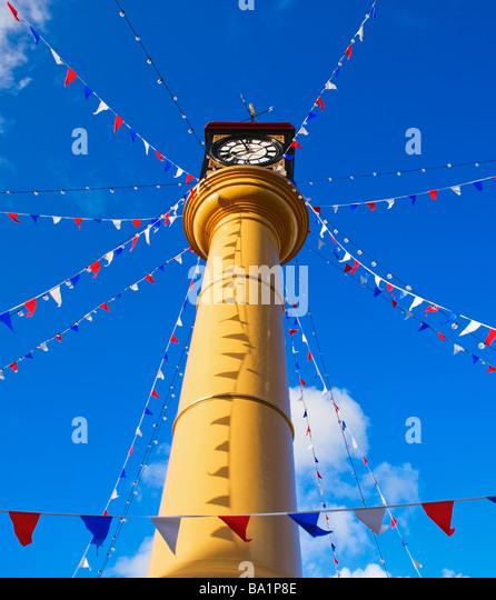 Tredegar Town Clock Main Street Tredegar Blaenau Gwent South East Wales - Stock Image