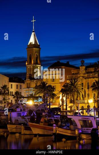 France, Var, Sanary sur Mer, the port, traditional fishing boats, the Pointus, church, city hall - Stock-Bilder
