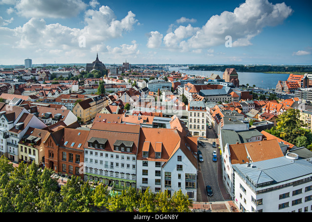 Rostock, Germany city skyline. - Stock Image