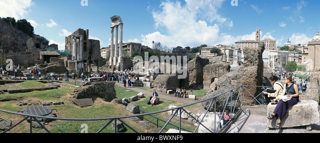 view Ancient world antiquity horizontal format forum Romanum Italy Europe panorama Rome tourist - Stock Image