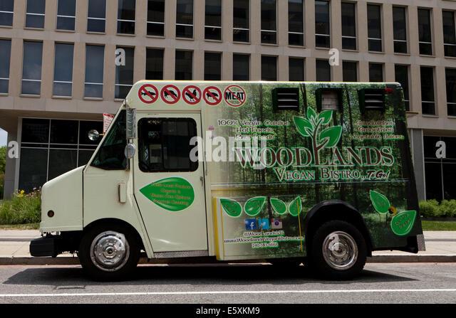 Signs on vegan food truck - Washington, DC USA - Stock Image