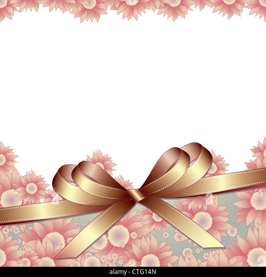 Floral background with ribbon for your text - Stock Image