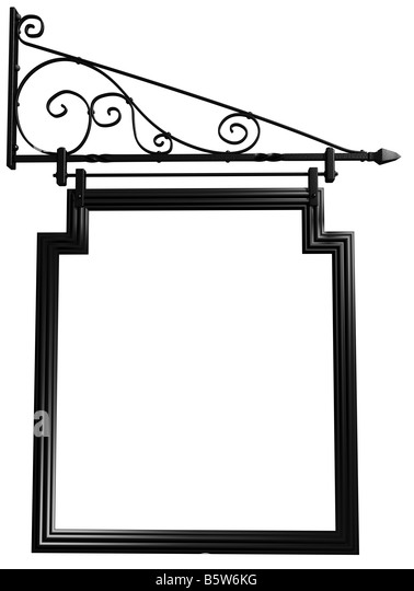 Illustration of an isolated blank pub sign - Stock Image