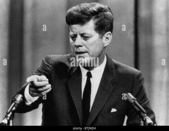 John F. Kennedy, telling a press conference that he believes Congress will pass a tax reduction bill, March 6, 1963. - Stock Image