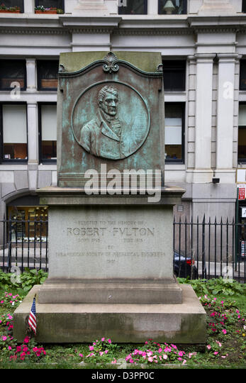 Tombstone of Robert Fulton, an American engineer and inventor,Trinity Church Cemetery on Wall Street and Broadway - Stock Image