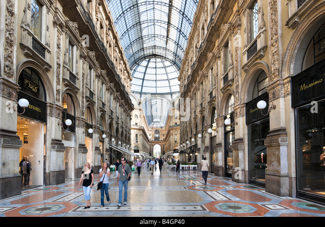 Galleria Vittorio Emmanuele II designed by Guiseppe Mengoni, Milan, Lombardy, Italy - Stock Image