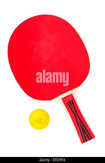 A Table Tennis bat and ball on a white background - Stock Image