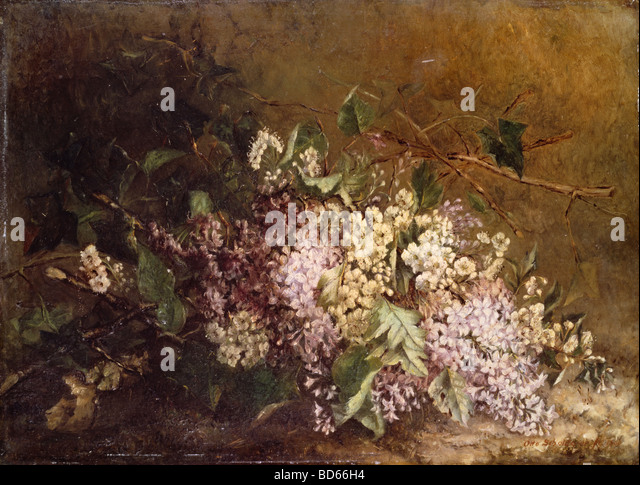 "fine arts, Scholderer, Otto (1834 - 1902), painting, ""Stillife with Lilac"" (""Fliederstilleben""), - Stock Image"
