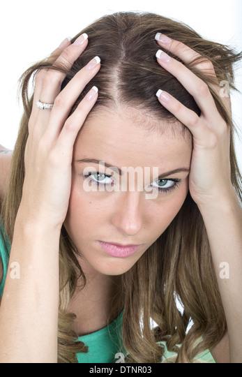 Sad Depressed Young Woman - Stock Image