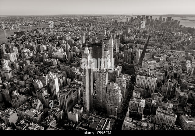 Black and white aerial view of New York City skyscrapers with Midtown, Chelsea, East Village and Lower Manhattan. - Stock Image