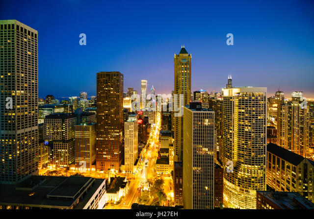 City skyline by night, Chicago, Illinois, United States of America, North America - Stock Image