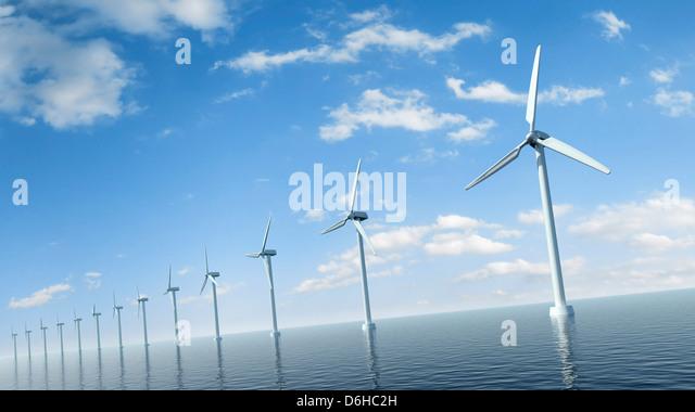 Wind turbines, artwork - Stock Image