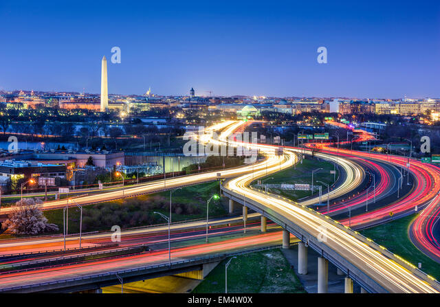 Washington D.C., skyline with highways and monuments. - Stock Image