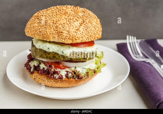veggie burger - Stock Image
