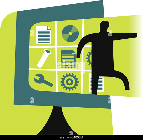Illustration of a figure and graphic elements - Stock Image