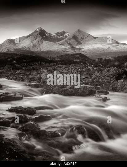 The Cuillin Hills near Sligachan in Isle of Skye Inner Hebrides Scotland Great Britain Europe  UK - Stock Image