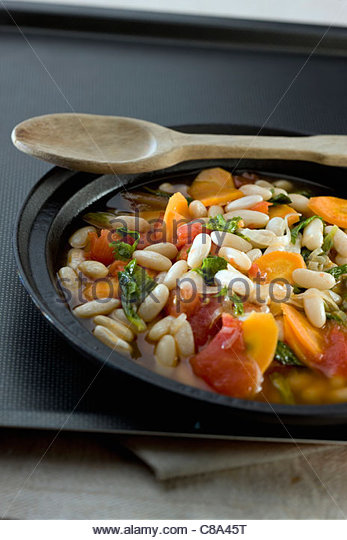 Soissons bean,carrot and tomato stew - Stock Image