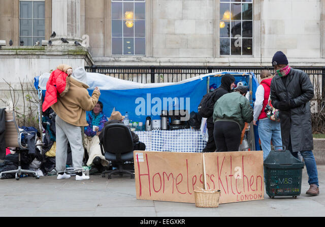Homeless Kitchen in Trafalgar Square, London, England, United Kingdom - Stock Image