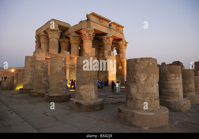Egypt North Africa Kom Ombo temple antiquity antique cultural site dusk twilight - Stock Image