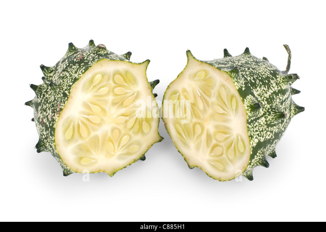 kiwano melon isolated on white background - Stock Image