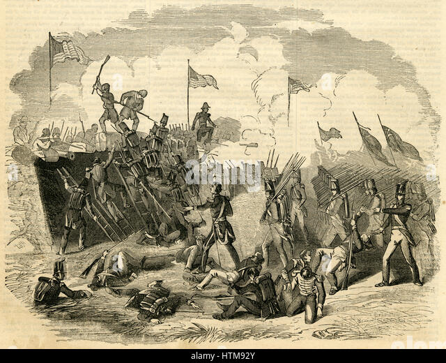 Antique 1854 engraving, 'Battle of New Orleans Ñ from a Painting by Merritt.' The Battle of New Orleans - Stock Image