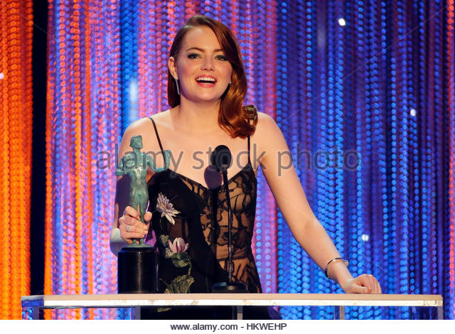 Emma Stone accepts her award for Female Actor in a Leading Role for La La Land during the 23rd Screen Actors Guild - Stock-Bilder