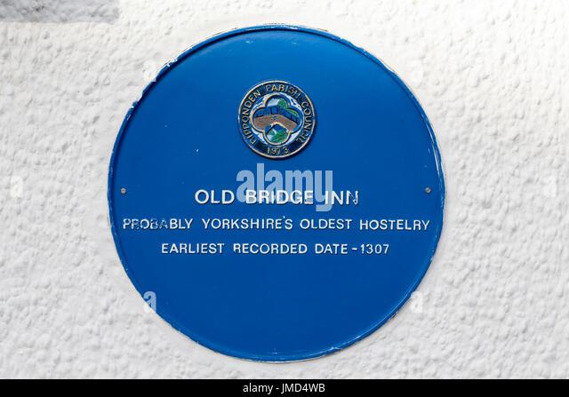 Sign at Old Bridge Inn (probably Yorkshire's oldest), Ripponden, West Yorkshire - Stock Image