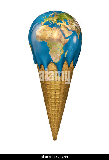 3D render of Earth ice cream cone - Stock Image