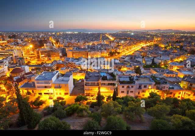 Evening view of Athens from Filopappou hill, Greece. - Stock Image