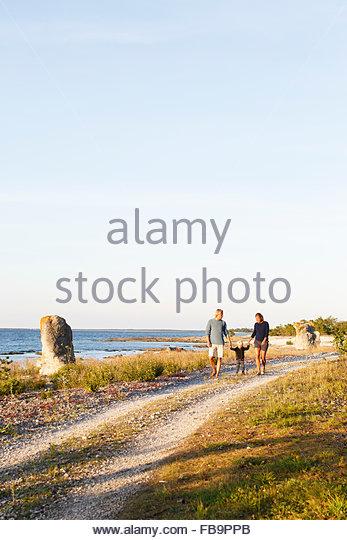 Sweden, Gotland, Farosund, Parents with son (2-3) walking along seaside - Stock-Bilder
