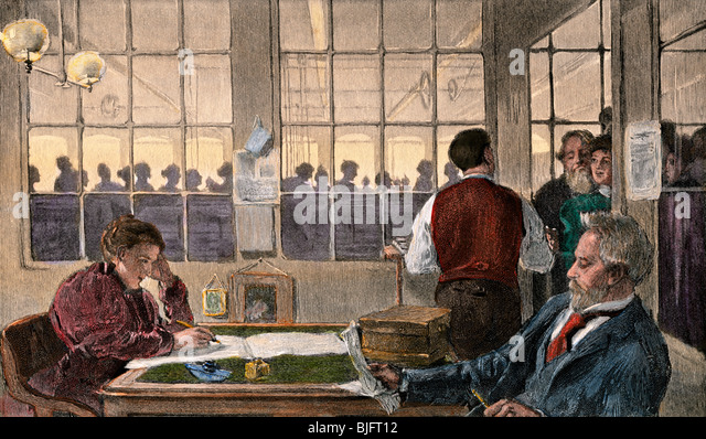 Payday in the weaving department of a textile mill, 1890s - Stock Image