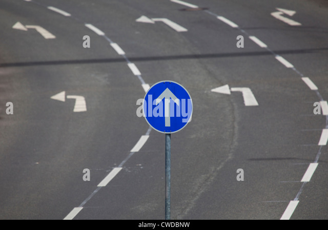 humor,bizarre,turn,change of direction,directional arrow - Stock Image