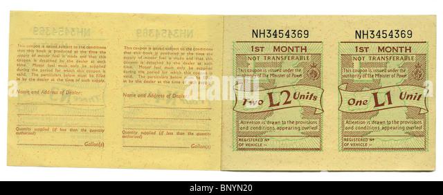 UK petrol ration coupon book, 1973 - Stock Image