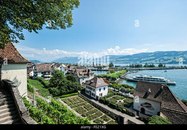 Rapperswil at the Lake Zurich. - Stock Image