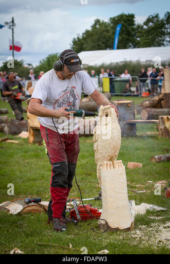Chainsaw timber stock photos