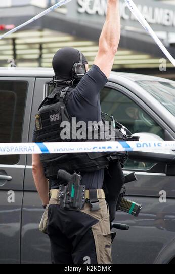 Stockholm, Sweden, 31st August, 2017. Police officer stabbed in the neck earlier today at Medborgarplatsen, Stockholm, - Stock Image
