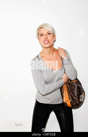 Woman with handbag - Stock Image