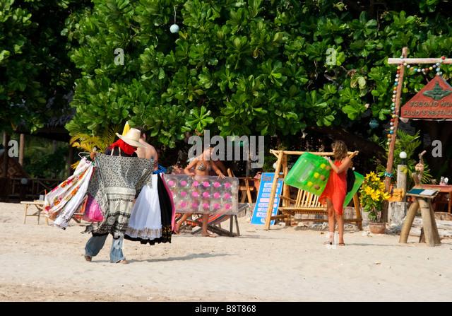 beach life at Long beach in Koh Lanta beach trader Thailand Asia - Stock Image