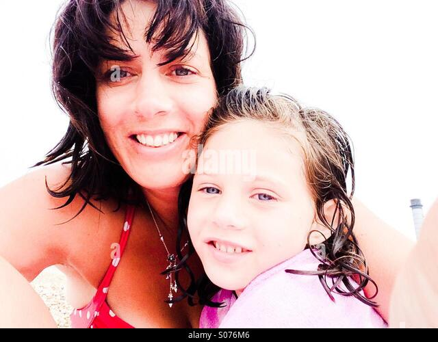Mother and daughter selfie - Stock Image