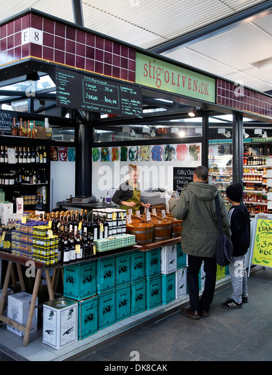 Olives shops at Torvehallerne, the new food market opened in Sept. 2011 at Israels Plads, Copenhagen, Denmark. - Stock Image