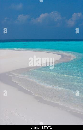 Empty sandy beach, Maldives, Indian Ocean, Asia - Stock Image
